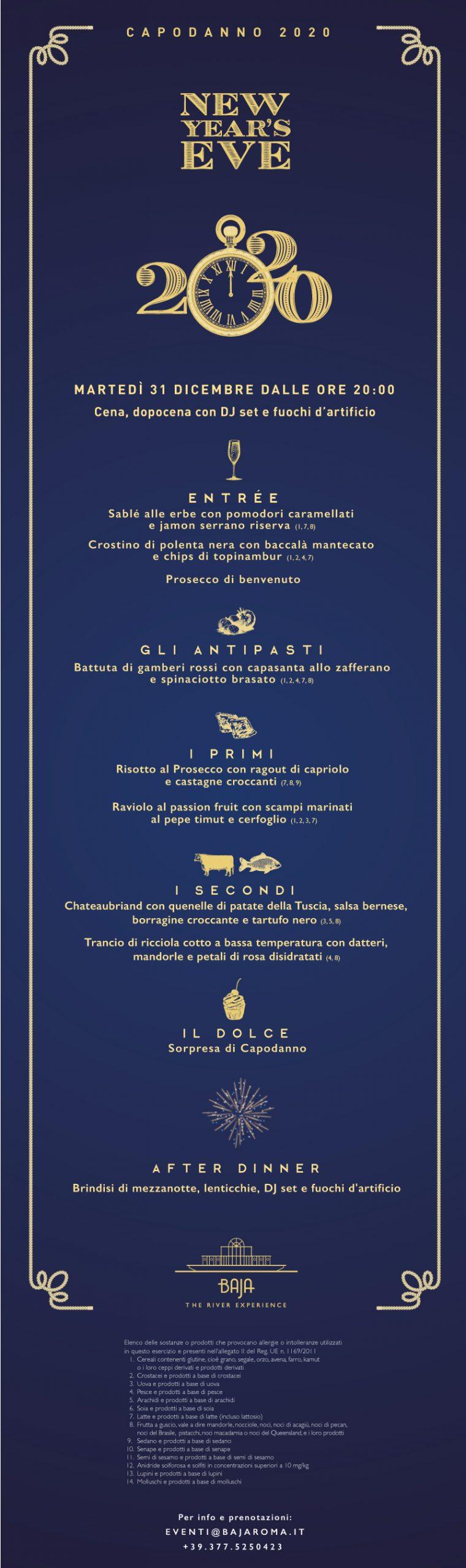 Capodanno a Roma, festeggia al Baja l'arrivo del 2020